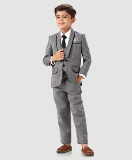 Babyhug 4 Piece Full Sleeves Party Suit With Tie - Grey