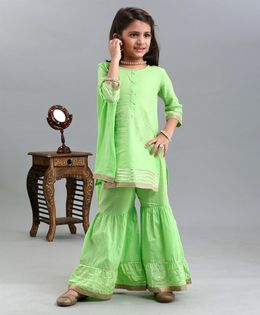 Babyhug Handloom Cotton Three Fourth Kurti And Ghagraa With Dupatta - Green