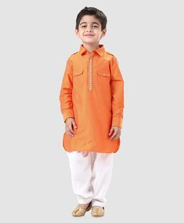 Babyhug Full Sleeves Pathani Kurta With Pyjama Embroidered - Orange