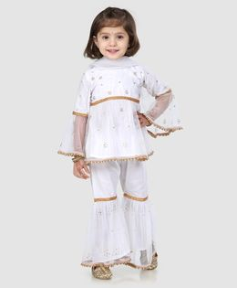 Ridokidz Full Sleeves Fit & Flare Beads Embellished Kurti With Sharara  & Dupatta - White