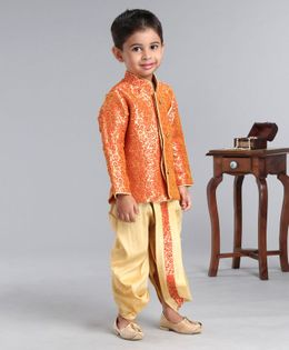 Ridokidz Leaves Design Full Sleeves Kurta & Dhoti Set - Red