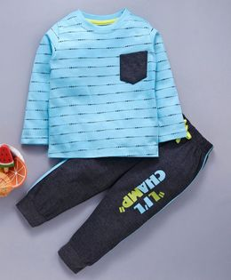 Babyhug Full Sleeves Single Jersey Tee And Lounge Pant Lil Champ Print - Blue Black