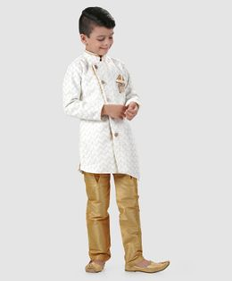 Dapper Dudes Embroidered Full Sleeves Kurta & Churidar Set - Off White