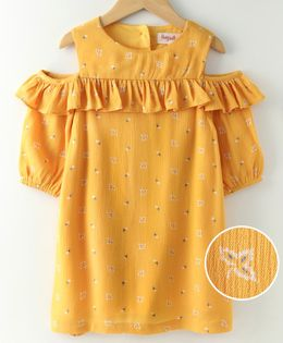 Hugsntugs Three Fourth Sleeves Flower Print Ruffled Cold Shoulder Dress - Yellow