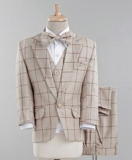 Jeet Ethnics Full Sleeves Checked Four Piece Party Suit With Bow Tie - Beige