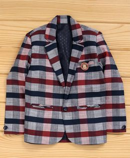 Dapper Dudes Checked Lapel Collar Full Sleeves Blazer - Red