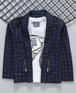 Dapper Dudes Full Sleeves Checked Blazer With Cycle Print Tee - Navy Blue