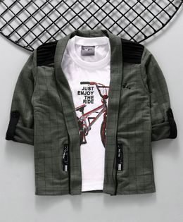 Dapper Dudes Full Sleeves Checked Blazer With Cycle Print Tee - Green