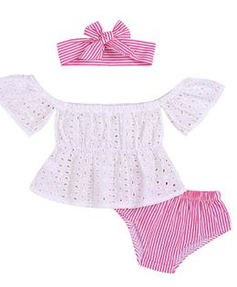 Awabox Schiffly Embroidered Short Sleeves Top & Bloomer With Headband Set - Pink & White