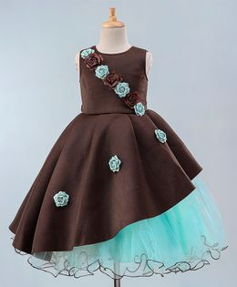 Maalka Sleeveless Flower Decorated Two Toned Gown - Brown