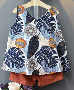 Awabox Feather Printed Sleeveless Top & Shorts Set - Blue & Brown
