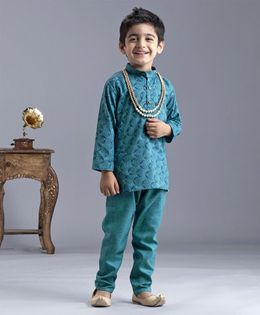 Ridokidz Circle Block Print Full Sleeves Kurta & Pajama  Set - Green