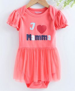 Mom's Love Short Sleeves Frock Style Onesie Heart Print - Coral
