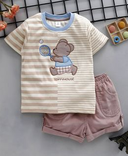 ToffyHouse Half Sleeves Teddy Patched Tee With Solid Shorts - Brown