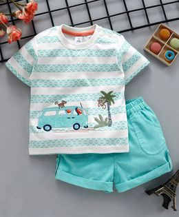 ToffyHouse Half Sleeves Tee & Shorts Bus Patch - Light Green