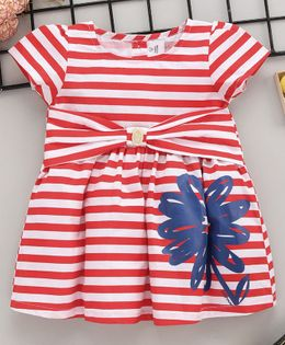 ToffyHouse Half Sleeves Striped Frock - Red