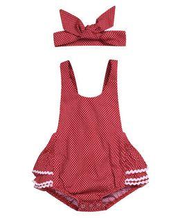 7f41f7656 Pre Order - Awabox Polka Dot Printed Sleeveless Onesie & Headband - Red
