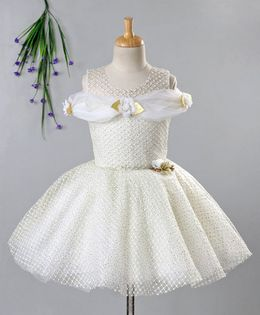 Enfance Lattice Embroidered Cold Shoulder Half Sleeves Dress - Cream