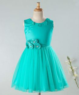 Enfance Flower Applique Sleeveless Dress - Sea Green