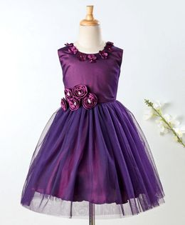Enfance Flower Applique Sleeveless Dress - Purple