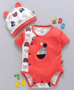WOW Clothes Half Sleeves Romper With Bear Style Cap - Cherry