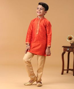 Babyhug Full Sleeves Kurta & Pyjama Set - Orange & Cream