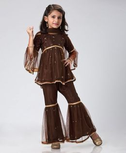 Ridokidz Beads Embellished Full Sleeves Top & Sharara With Dupatta Set - Brown