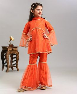 Ridokidz Beads Embellished Full Sleeves Top & Sharara With Dupatta Set - Orange
