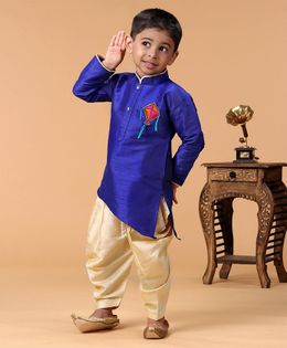 KID1 Kite Patch Full Sleeves Kurta With Dhoti - Blue