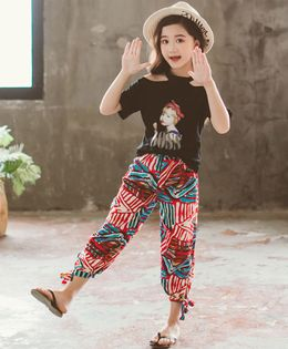 Pre Order - Awabox Half Sleeves Girl Boss Print Tee With Abstract Print Pants - White & Red
