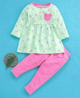 Baby Naturelle & Me Full Sleeves Top & Leggings Set Bird Print - Green