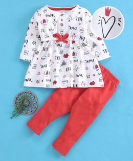 Baby Naturelle & Me Full Sleeves Top & Leggings Set Multi Print - Off White