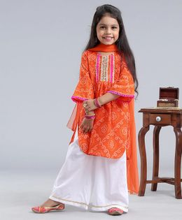 Pspeaches Bhandhani Print Three Fourth Sleeves Kurta With Dupatta & Palazzo Set - Orange