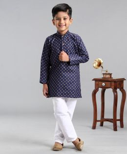 Ridokidz Full Sleeves Block Print Kurta With Pyjama - Navy Blue
