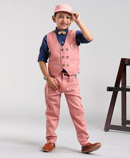 Dapper Dudes Striped Full Sleeves 3 Piece Party Suit With Cap -  Pink