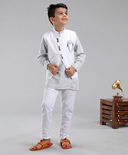 Dapper Dudes Striped Full Sleeves Kurta With Jacket & Pyjama - White