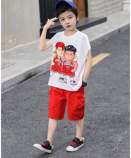 Pre Order - Awabox Boys Printed Half Sleeves T-Shirt With Shorts  - Red & White