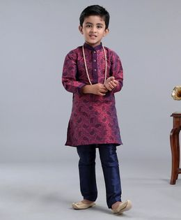 Dapper Dudes Full Sleeves Paisley Print Kurta With Pyjama - Maroon