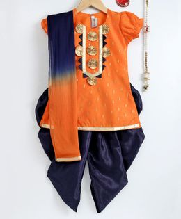 Bownbee Chanderi Cap Sleeves Kurti Dhoti & Dupatta Set - Orange