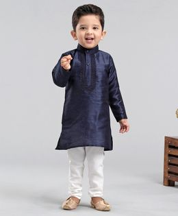 Ridokidz Full Sleeves Embroidered Kurta With Pyjama - Navy Blue & White