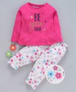 Mom's Love Full Sleeves Tee & Bottoms Set Text Print - Pink White