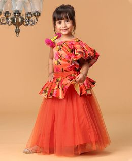 Varsha Showering Trends Flower Print Sleeveless Choli With Lehenga - Orange