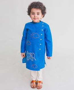 Tiber Taber Elephant Embroidered Full Sleeves Kurta With Pyjama - Blue