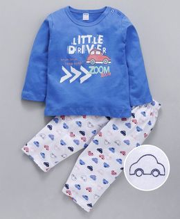Tango Full Sleeves Tee & Bottoms Set Little Driver Print - Blue White