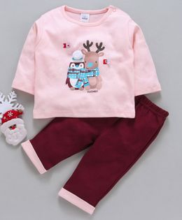 Olio Kids Full Sleeves Tee & Bottoms Set Penguin & Reindeer Print - Light Peach