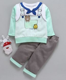Olio Kids Full Sleeves Tee & Bottoms Set Dungaree Print - Light Green