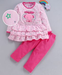 U R Cute Full Sleeves Elephant Patch Dress With Leggings - Pink