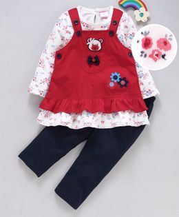 U R Cute Flower Print Full Sleeves Tee With Dress & Leggings - Red