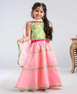Kids Chakra Printed Sleeveless Choli With Lehenga & Dupatta - Peach