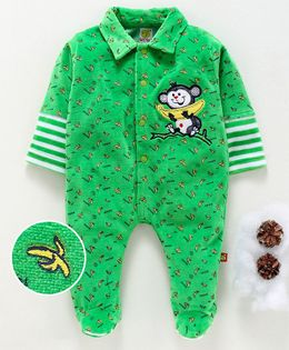 Wow Clothes Full Sleeves Footed Romper Monkey With Banana Patch - Green